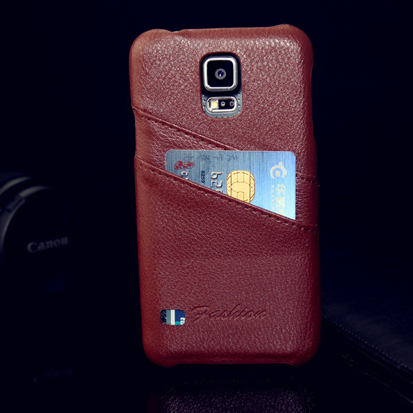 Wholesale Premium latest best selling litchi pattern 100% new Genuine Real Leather Back Cover Case for Samsung Galaxy S5 newest
