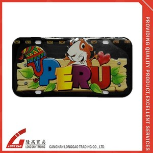 3d souvenir metal plate motorcycle small license plate