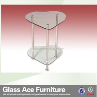 CT5241 modern heart-shaped glass coffee table