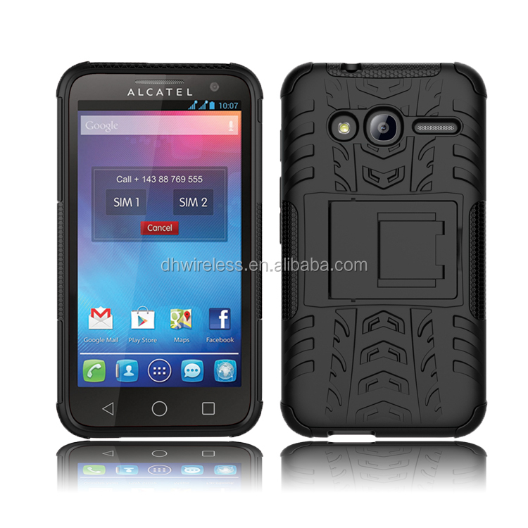 tyre lines pc tpu case for alcatel one touch pixi 4,square stand cover for alcatel pixi 4 4.0