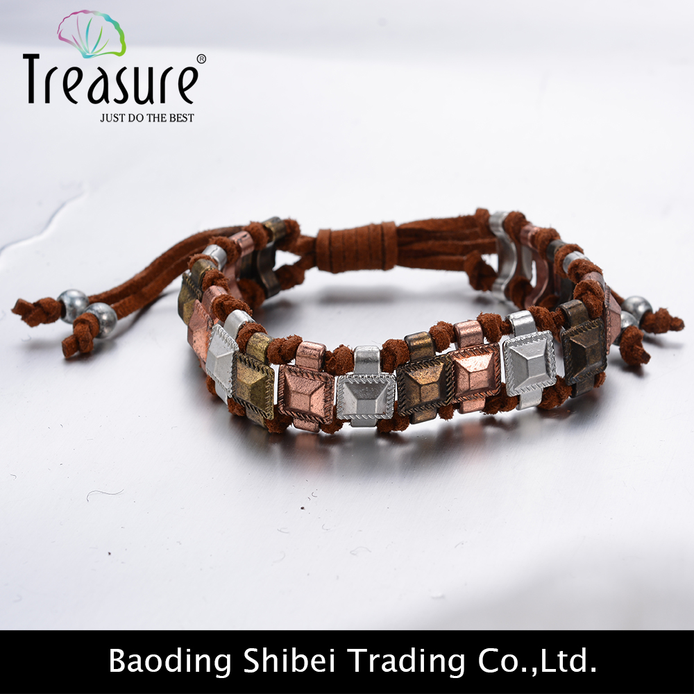 2016 Handmade ancient copper zinc alloy braided leather bracelet jewelry
