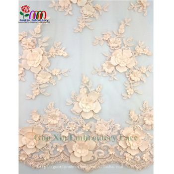 New Fashion Lady Dress Guipure Beaded Lace Fabric 3d
