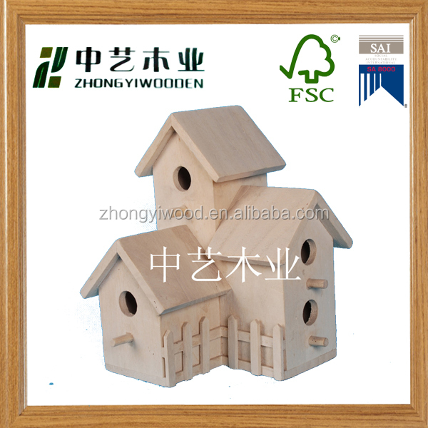 Cheap Handmade Small Wood Crafts Bird House Model Wholesale Pet Cages, Carriers & Houses