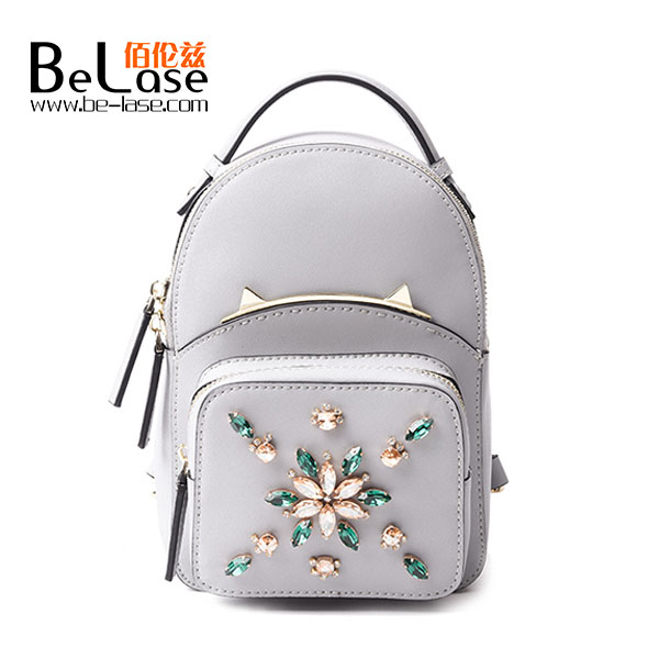 Special cat desinger women leather backpack beaded with diamond