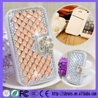Fashion Custom Champagne/White Wallet Crystal Diamond Bling Bling Rhinestone Case For Iphone 6