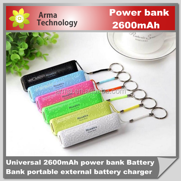 Mini Real 2600mAh Mosaic Mobile Power Bank Universal USB External Backup Battery for iPhone Samsung