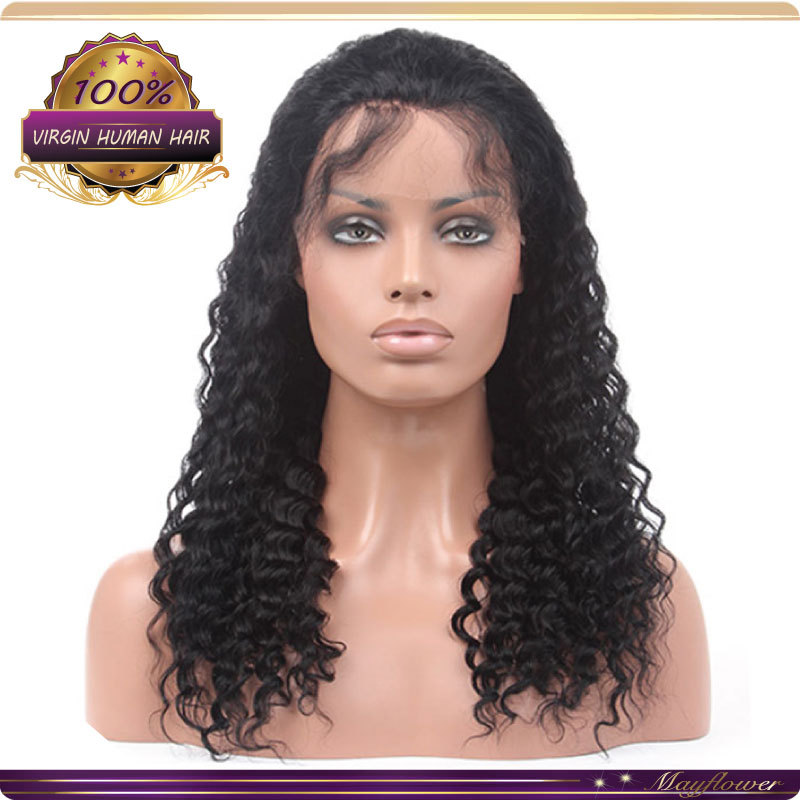 100% brazilian virgin human hair glueless full lace wig deep curly lace wigs full lace front wigs