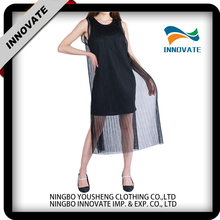 Wholesale latest fashion ladies mesh double layer sleeveless dresses