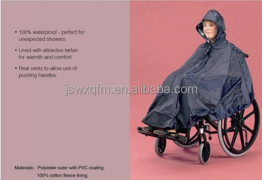 Nylon PU disabled people wheelchair rain poncho