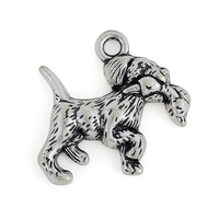 New Design Antique Silver Plated Naughty Puppy Dog With Duck Charms Wholesale