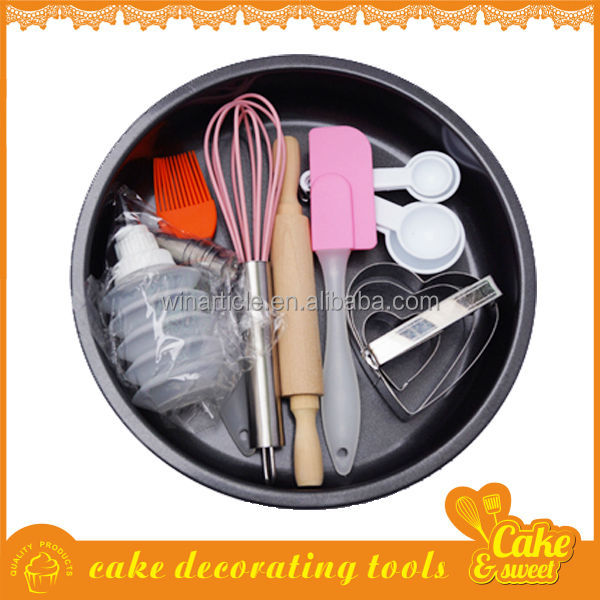 Cake Baking Pan Egg Whisk Cookie Cutter Spatula Squeezer Set