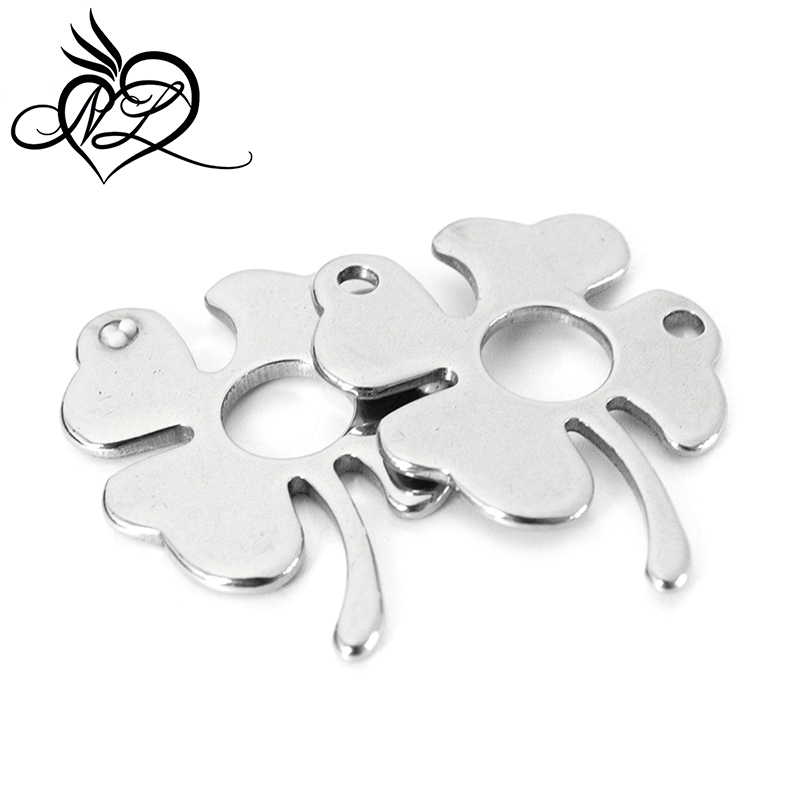 Custom stainless steel jewelry <strong>accessory</strong> blank plain lucky four clover tags charms stainless steel clover charms