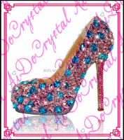 Aidocrystal pink and blue crystal rhinestone bridal wedding shoes for woman