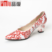Fashionable lady dress shoes imitation wood-grain high heel and platform shoes spring summer autumn leopard splicing pumps