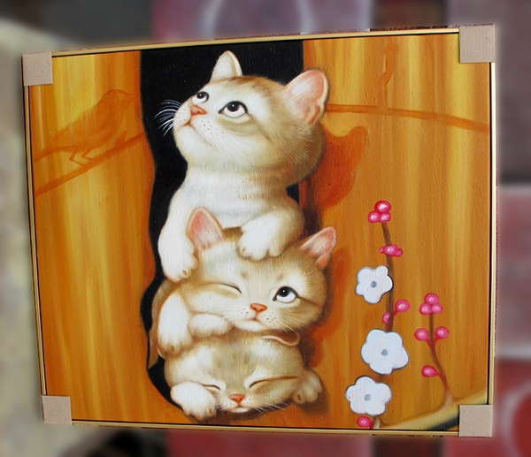 Fresh lovely animal art pictures of cats oil painting