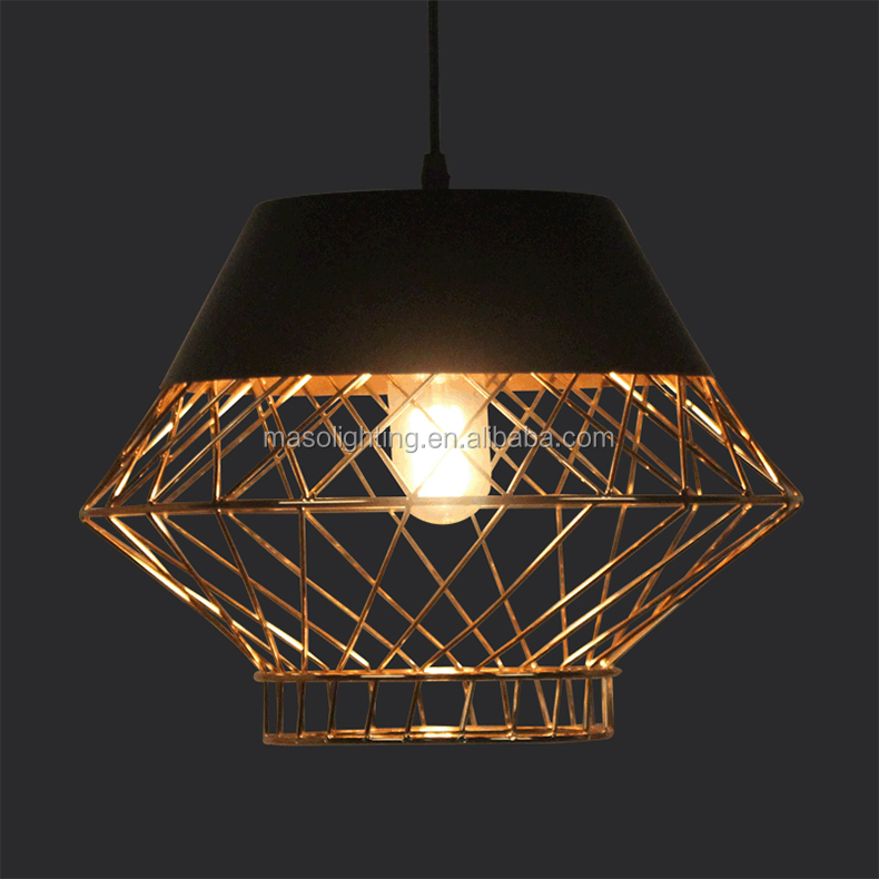 Factory-outlet Rose gold Art design Metal pendant lamp black painting Retro hanging lamp for coffee shop resturant indoor Decor