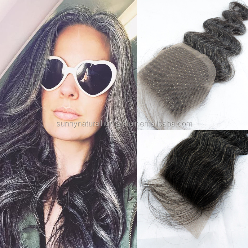 mix grey hair lace closure free parting body wave brazilian remy gray hair lace closure for old women grandma