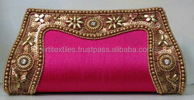 KTCB-26 Stylish stones & pearl bead on silk material party Clutch Bag For Ladies - From Jaipur