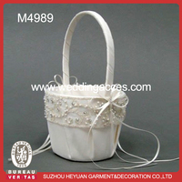 M4989 Beautiful Embroidery Satin Wedding Flower Girl Basket