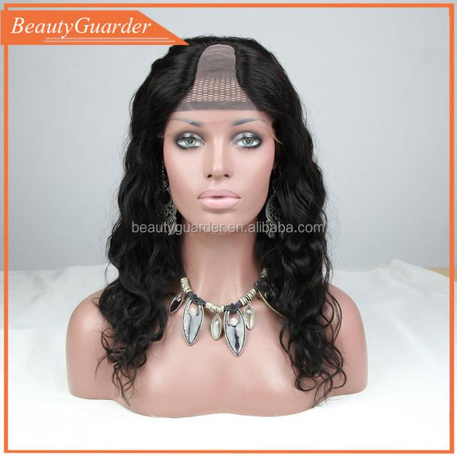 New arrival fashion natural color body wave Brazilian virgin human hair u part wig for black women