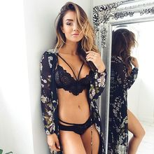 Ladies New Design Sexy Soft Bra And Panty Sets Cross Straps Solid Black Underwear Sheer Bralette Brief Panties Lace lingerie