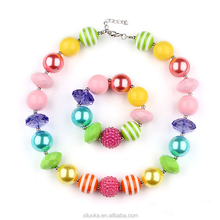 Wholesale Rainbow Chunky Necklace Pink Rainbow Bubble Gum Necklace Latest design beads Necklace for Baby
