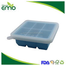 Wholesale Promotional Home Ice Maker Square Shape 6 Cavities Silicone Ice Cube Tray with lid