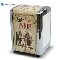 customized Empty tissue square napkin tin box metal tissue tin table napkin holder