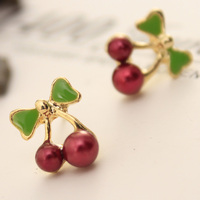 Wholesale Fashion Pendient Fine Jewelry Allergy Friendly Rhinestone Red Cherry Stud Earrings For Women