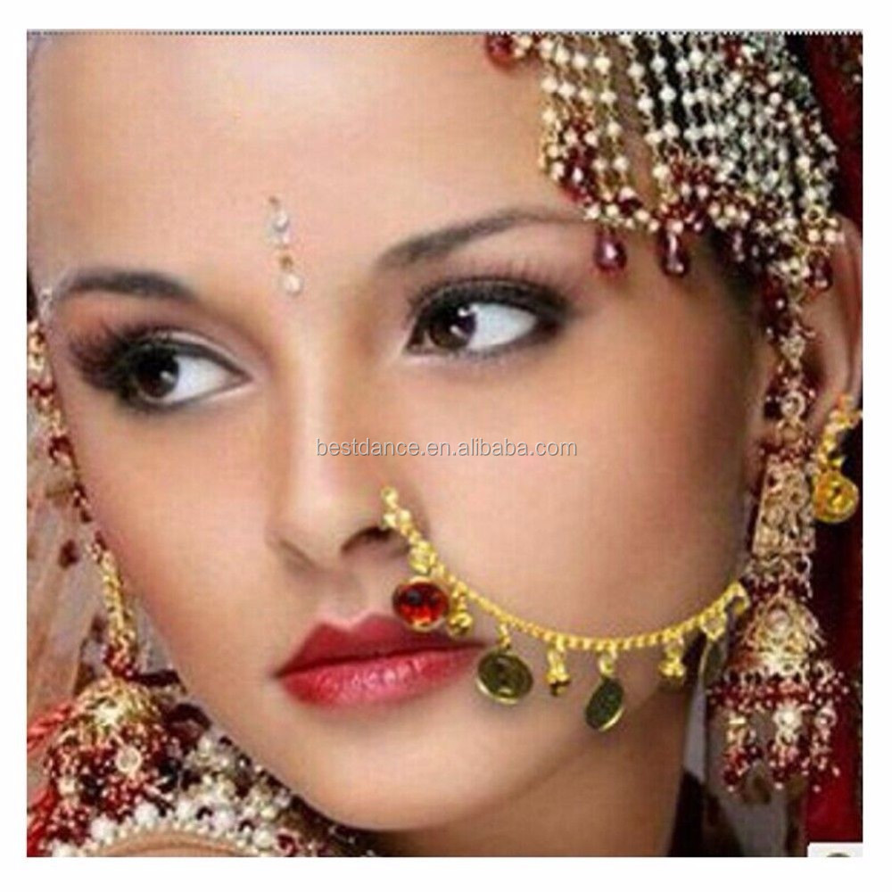 BestDance New Colorful Belly Dance Nose Ring Golden Tone Indian Bollywood Bridal Nose Ring Nath Jewelry Accessory