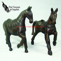 Wood Craft : Twin Horse Animal Crafts Models - Thai Vintage Wood Carving For Home Decor