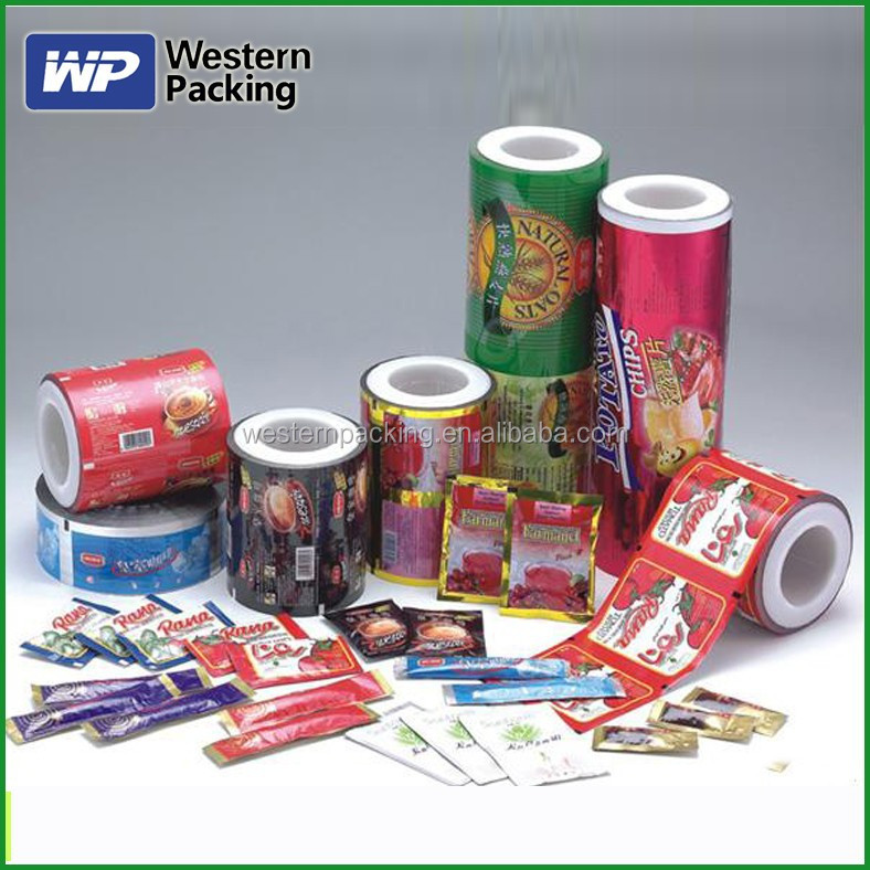 Printed laminated plastic sachet film for liquid/tea/coffee/sugar packaging