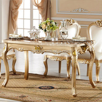 Luxury Golden Dinning Table Set Wood