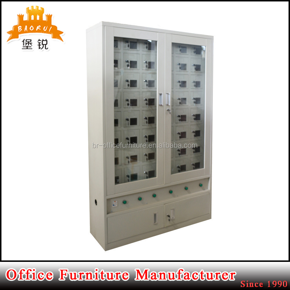 Customized mini Multiple compartment mobile cell phone charging station key operated steel lockers