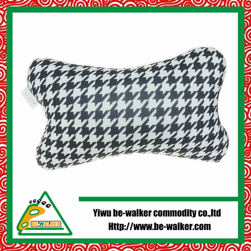 Bone Shape White And Black Printed Pillow Decorative Microbeads Pillow In Your Car