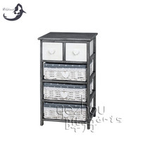 Factory wholesale white Wicker storage cabinet with 3 drawers