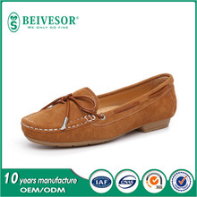 fashionable italian style fashion moccasin suede leather casual shoes for women