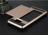 Slide Cover Card Pocket TPU PC 2 in 1 Hybird Phone Case For iPhone 7 7s & Plus