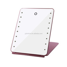 Folds flat travel and home make up mirror with led light,touch screen led mirror with rechargeable battery