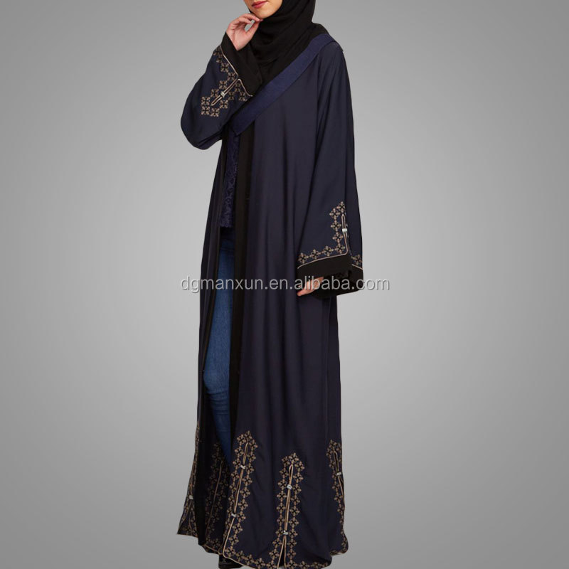 Manxun gold embroidered casual abaya muslims kimono