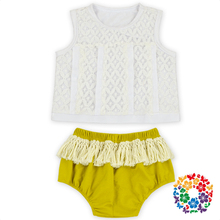 Toddlers Clothing Sets White Lace Tank Top And Mustard Color Bloomers With Tassels Wholesale Baby Girls Swing Top Bloomer Set