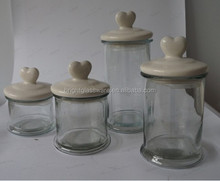 Square Glass candle jar ,candy jar,Cookie jar with Ceramic animal lid
