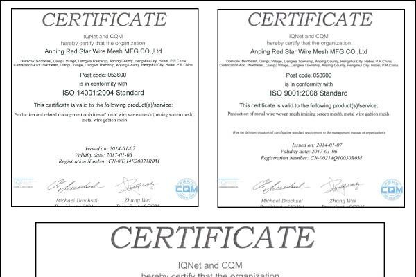 EU and ASTM Standards high carbon spring steel screens Pass CE ISO9001 SGS Test