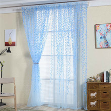 Cheap simple design print blue voile drapery flower curtain
