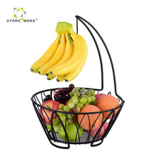 STORE MORE High Quality Tall Chrome Metal Wire Fruit Basket With Banana Holder