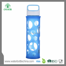 borosilicate glass drinking bottle glass with silicone sleeve