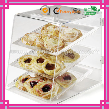 beautful custom bakery 3 tiers clear acrylic cupcake display case with trays manufacturer