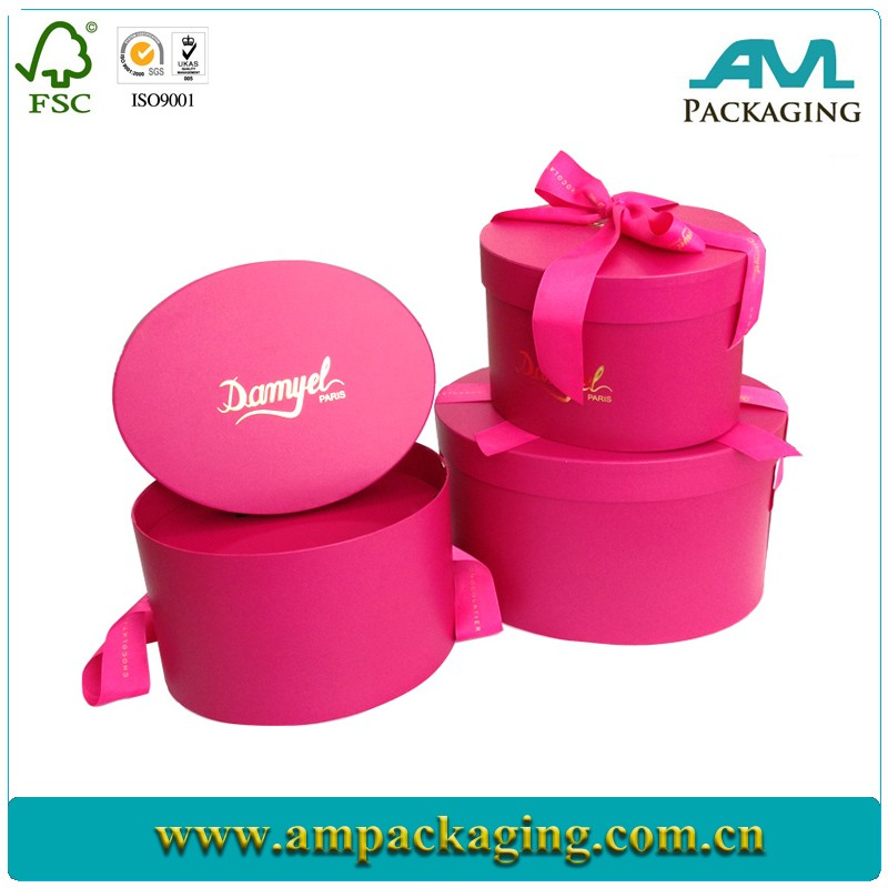 ribbon sealed decorated design chocolate gift packaging with lids round flower box wholesale