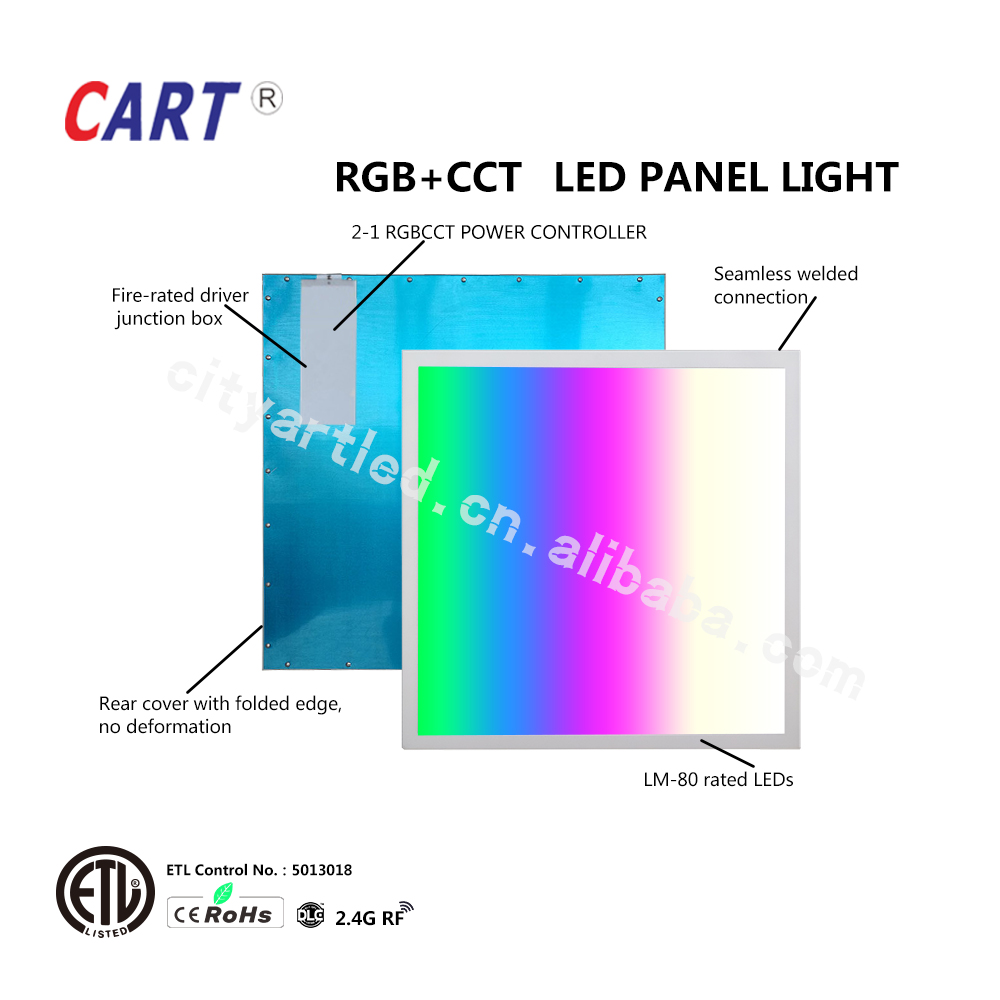 ETL DC24V RGB RGB+CCT RGBW LED Panel Light 603x603mm 2x2 ft CE Rohs 5 Years Warranty With 2-1 2.4G RF Power remote Controller