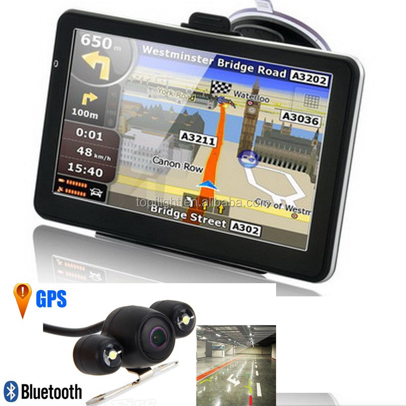 7 inch car 128M/4GB CPU800M Bluetooth AV-IN Multi-language Free Maps Container GPS Tracker+Parking Rear View Camera